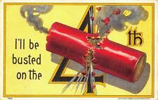 JULY 4TH FIRECRACKER I'LL BE BUSTED HOLIDAY PATRIOTIC POSTCARD (1908)