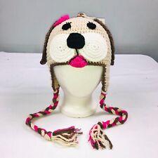 Baby Girls Hat Dog Braided Handmade Crocheted 12-24 Months Brown Pink Beige New