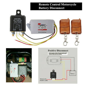 12V Wireless Motorcycle Battery Disconnect Switch Isolater Kit+2x Remote Control