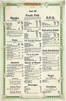 1983 Vintage Large Menu PISTACHIOS FOR FISH Restaurant East Lansing Michigan