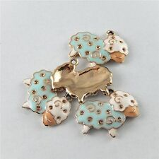 10pcs Lovely Colorful Alloy Sheep Handmade Pendant Jewelry Accessory Findings