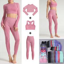 Женская бесшовная йога комплект топик + бюстгальтер + леггинсы брюки тренажерный зал тренировки спортивный костюм