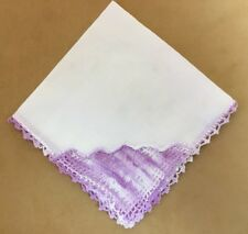 Vintage Ladies Hanky, Handkerchief, Crocheted Edges, Front, White, Lavender
