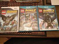 LEGO BATMAN 1 2 3 Trilogy Wii/Wii U Game Lot DC Comics Beyond Gotham Bundle