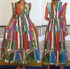 ETHNIC GYPSY Vtg 70's SEXY MULTI PRINT V NECK HIPPIE BOHO TIERE SHEER MAXI DRESS