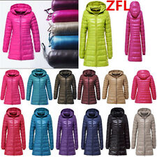 Women Ultralight 90% Down Slim-fit Long Hooded Jacket Puffer Parka Coat Plus