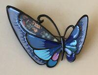 Unique Large butterfly  brooch pin in enamel on metal
