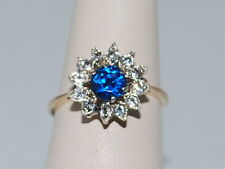 10k Gold ring with Sapphire(September birthstone) and cz diamonds