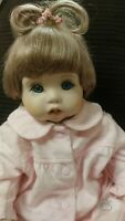 "Vintage Realistic Porcelain Baby Doll 19"" Weighted Jointed Brown Hair Blue Eye"