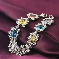 925 Sterling Silver Fashion wedding Woman Zircon Austrian crystal Bracelet LH04