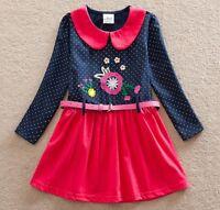 Girls Long Sleeve Party Dress - Age 3 4 5 6 7 - Kids Pink Belt Polka Dot Clothes