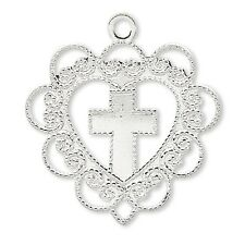Lot of 10 Heart With Cross 3/4 inch Charms Silver Plated Over Brass Base Metal