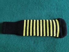 Knitted zebra style Fairway & Driver Golf Club head cover Black / Yellow