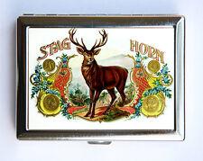 Deer antlers Cigarette Case Wallet Business Card Holder hipster cigar label