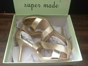 Super Mode Gold Strap Sandal Heel Shoes, Size 41 Worn Once Size 8 with box