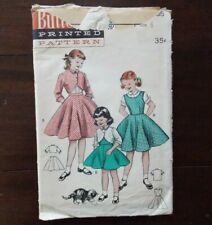 Vintage 1954 Butterick Sewing pattern #6865 Girls Dress Size 6