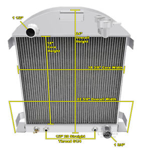 3 Row Ace Champion Radiator for 1928 1929 Ford Model A Chevy Configuration