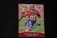 DWAYNE BOWE 2012 BOWMAN SIGNED AUTOGRAPHED CARD #31 KANSAS CITY CHIEFS