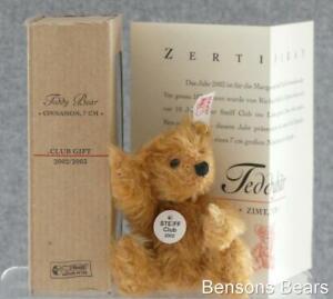 Steiff 2002/03 Club Gift Miniature Replica Bear Cinnamon Mohair 7cms Ean 420269