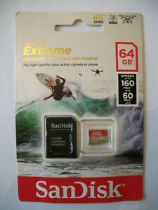 SanDisk Extreme Micro SDXC UHS Speicherkarte & Adapter 64gb Speed 160mb/s Action Kamera