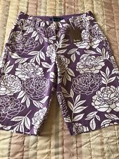 New With Tags BODEN Purple & White Floral Pattern Ladies Cotton Shorts, Size 8