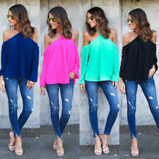 Womens Chiffon Cold Shoulder Tops T-shirt Halter Neck Long Sleeve Casual Blouses