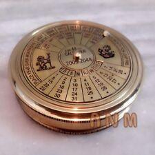 Nautical Brass Calendar Poem Compass 3 inch Vintage