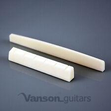 VANSON 52mm Plain Bone Nut, and 80mm Plain Saddle for Classical Guitars PLNPLN