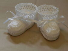 Baby Booties WhiteThread Crochet 0-3 Months Handmade Photo Prop
