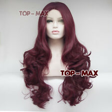New Wine Red Curly 24 Inches Long Hair Women Heat Resistant Lace Front Wigs 2018