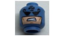 2 LEGO Medium Blue Minifig, Head Balaclava with Black Eyes, 'Z' in Black Circle
