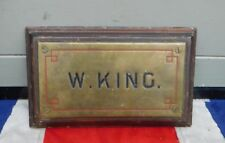 ARCHITECTURAL ANTIQUE VINTAGE W KING QUIRKY ORNAMENTAL METAL DOOR NAME SIGN