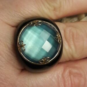 Designer Blue Faceted Quartz Doublet Black Onyx Ring Size 7.5 signed 14K FP