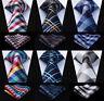 "HISDERN Plaid Check Tie 3.4""Silk Woven Classic Men's Necktie & Pocket Square Set"