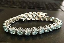 9.36cts Aquamarine Roped Tennis Bracelet 14k White Gold Over Sterling Silver