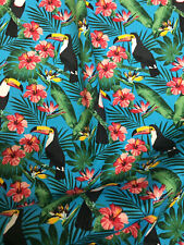 Blue Toucan Birds Jungle Childrens Printed 100% Cotton Poplin Fabric
