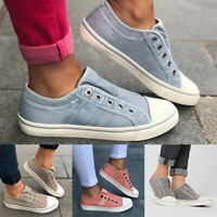 Women Canvas Denim Loafers Pumps Sneakers Sports Large Size Slip On Flat Shoes S