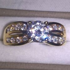 18ct Gold 1.2ct Engagement CZ Cross over Ring ~ Size O ~ NEW
