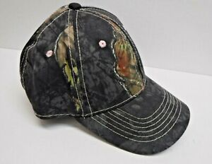 Womens Mossy Oak Dark Camo Pink Stitching Adjustable Hat