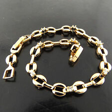 BRACELET CUFF BANGLE 18K YELLOW G/F GOLD SOLID DIAMOND SIMULATED ANTIQUE DESIGN