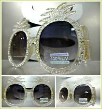 OVERSIZE RETRO Style Pineapple Shape SUNGLASSES Funky Clear Frame Bling Crystals