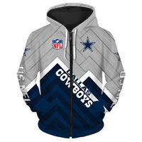 Dallas Cowboys Hoodie Zipper Football Sweatshirt Casual Hooded Sport Jacket Gift
