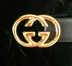 Gucci GOLD InterlockingGG belt buckle  Black Belt  Authentic Made in Italy NW0T