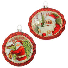 Santa Glass Christmas Ornaments Set of 2 rzchsw 3619009 NEW RAZ