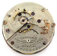 ".1892 HAMPDEN ""SPECIAL ADJUSTED"" 18S 17J RRG MENS POCKET WATCH MOVEMENT & DIAL."