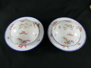 Pair of Antique Minton Hand Painted Muffin Dishes c.1862-72