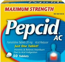 2x Pepcid AC Maximum Strength Prevents & Relieves Heartburn 50 Tablets Lot of 2