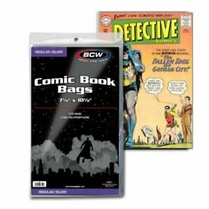 """1 Pack of 100 BCW Brand Silver Age Comic Book 7 1/8"""" Bags"""
