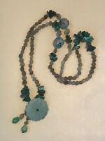 Estate Long Pale Blue Oval Stone & Turquoise Nugget Stretch w Carved Green Stone