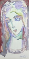 EXPRESSIONIST GOUACHE PAINTING FEMALE PORTRAIT SIGNED